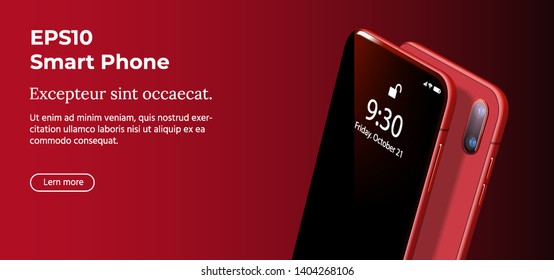 Set Mock-up of Visionary Modern Red Smart Phone on Smooth Dark Red Back in Perspective View. Realistic Vector Illustration of Smartphone. New Shiny Mobile Cellphone with Reflection on the Screen.