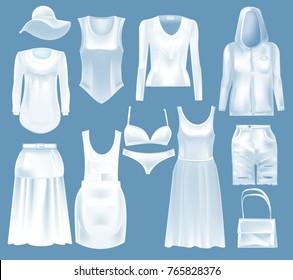 Set mockup women s clothes: blouse, hat, jacket, t-shirt, sweatshirt, underwear, long skirt, shorts, bag, dress. Template fashion clothes cap mockups. Front view in white color Vector illustration