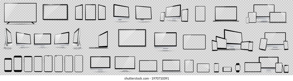 Set mockups of technology devices with empty display, device screen mockup collection, big realistic set mock up TV, computer, laptop, tablet, smartphone and watch with shadow.