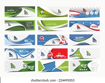 Set of Modern Abstract Business Banner Template