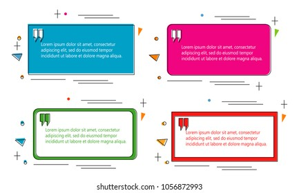 set of modern abstract doodle polygonal geometric quote box bubble speech talk frame dialog marks quotation template illustration vector