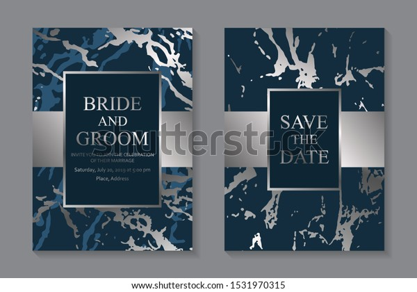 Set Modern Abstract Luxury Wedding Invitation Stock Vector ...