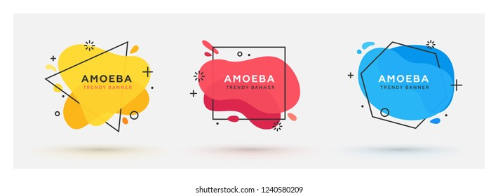 Set of modern abstract vector banners. Flat geometric shapes of different colors with black outline in memphis design style. Triangle, square and hexagon frames.
