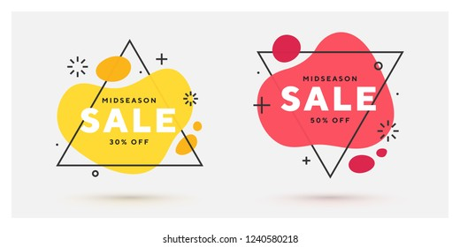 Set of modern abstract vector banners. Flat geometric shapes of different colors with black riangle outline in memphis design style. Template ready for use in web or print design.