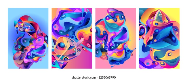 1e5bb2d76ff97 Set of modern abstract vector poster background . Gradient geometric shapes  of different colors in space