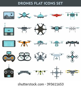 Set of modern air drones, quadrocopters and remote control drones isolated on white background. Flat cartoon vector illustration.