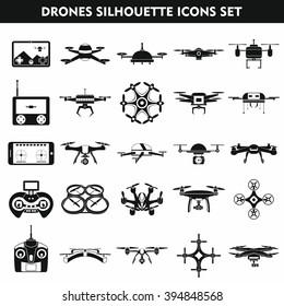Set of modern air drones, quadrocopters and remote control drones isolated on  white background. Flat silhouette vector illustration.