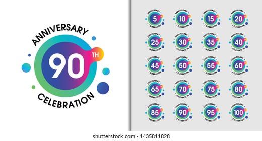 Set of modern anniversary logotype. Colorful anniversary celebration emblem  Vector illustration.