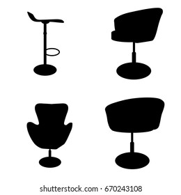 Office Chairs Silhouettes Vector Illustration Stock Vector Royalty