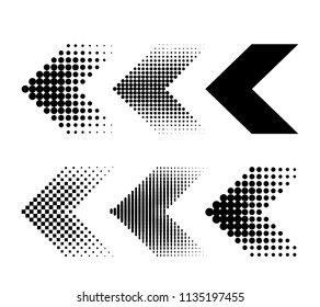 a set of modern arrows in the style of halftones. flat vector illustration isolated on white background