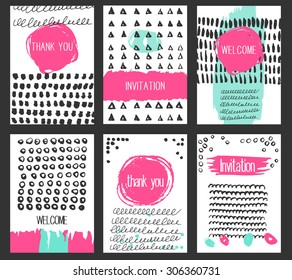 Set of Modern backgrounds with Hand Drawn Textures Made with Ink and paint strokes and splashes. Template for banners, cards and flyers.