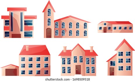 Set of modern beautiful urban multi-story houses with red roofs in different shapes. Vector illustration in flat cartoon style.