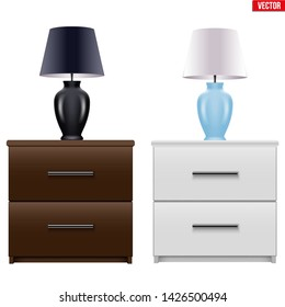 Set of Modern bedside nightstand with Table Lamp. Wooden Bedside cabinet with two drawers. Brown and White color. Vector Illustration isolated on white background