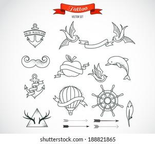 Set of modern black and white Tattoo Art elements - vector design