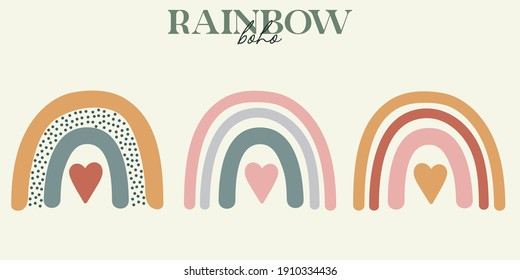 set of modern boho style. Vector hand drawn boho clipart for nursery decoration with cute rainbows. Perfect for baby shower, birthday, children's party. Gender neutral Scandinavian nursery graphics. - Shutterstock ID 1910334436
