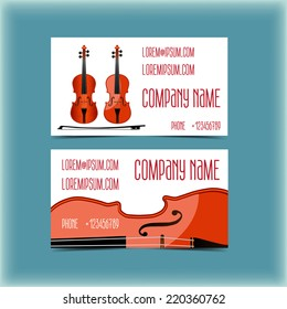 Set of modern business card for a musician, violinist
