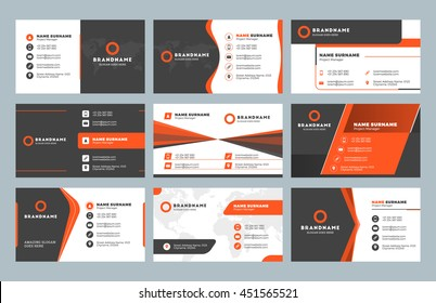 Set of modern business card print templates. Personal visiting card with company logo. Clean flat design. Vector illustration