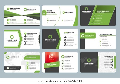 Set of modern business card templates. Business cards with company logo. Clean flat design. Green and black colors. Vector illustration