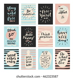 Set of modern calligraphic posters. Inspirational quotes and good wishes. Free spirit, hello friday, good vibes only, and so the adventure begins, think positive, stay wild and free. Hand lettering