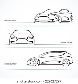 Set of modern car silhouettes. Abstract automobile outlines isolated on white background. Vector illustration