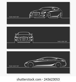 Set of modern car silhouettes. Luxury sedan in three angles. Vector illustration