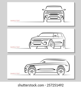 Set of modern car silhouettes. Sport utility vehicle in three angles. Vector illustration