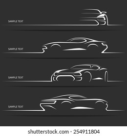 Set of modern car silhouettes. Sports car in three angles. Vector illustration