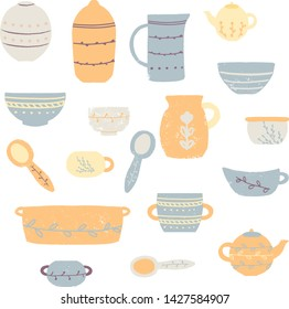 Set of modern ceramic kitchen utensils or crockery - cups, dishes, bowls, pitchers. Set of decorative tableware items isolated on white background. Vector illustration in flat cartoon style