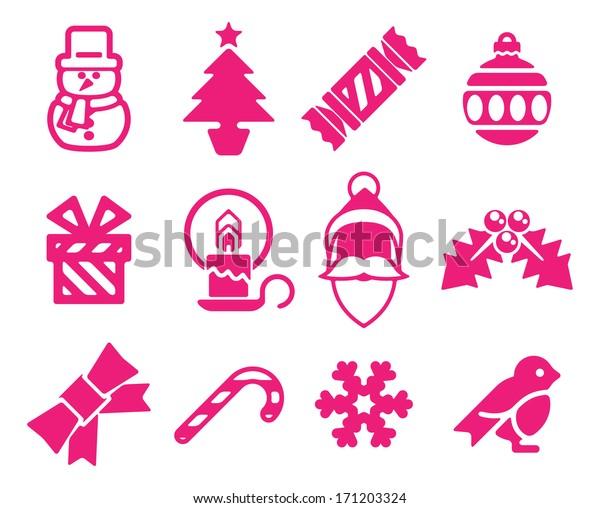 A set of modern Christmas icons including snowman, Santa and snowflake