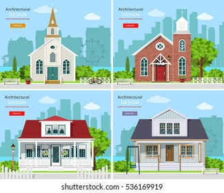 Set With Modern Church Buildings And Private Houses. Cute Houses With City  Background. Flat