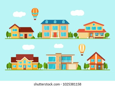 Set of modern city cottage house, front view. Real Estate. Flat Style American or Sweden Townhouse. Vector Illustration.