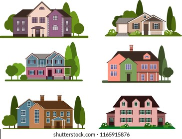 Set of modern city cottage houses, buildings icons, front view. Vector flat icon suburban american house. Modern city townhouse architecture. Family house icon isolated on white background.