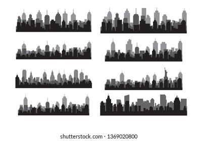 Set Modern City Skyline Vector