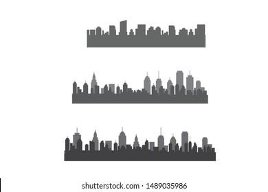 Set Modern City Skyline Vector Isolated on white background