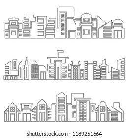 set of modern city skyscrapers skyline, outline design
