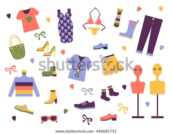Set of modern clothes icon. Dress me. Vector.