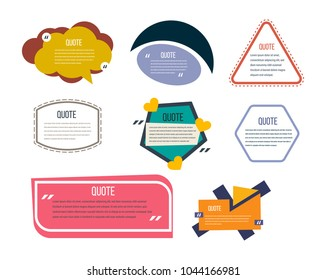 Set of modern color templates of speech bubbles, text quotes and phrases. Color quotes for comments, comments, opinions, opinions. Various forms, decorative mock-ups. Vector illustration.