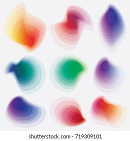 Set of modern colorful abstract gradient shapes in yellow, pink, purple and green color hues