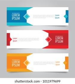 Set of Modern Colorful banner template. Blue, Red and Orange Banner design. Horizontal advertising banner.