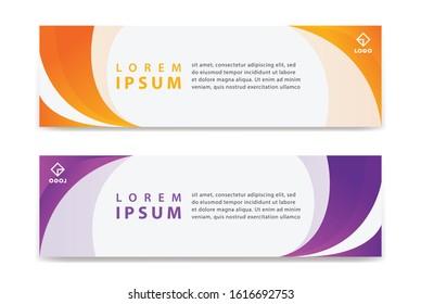 Set of Modern Colorful banner template. Orange and Purple Banner design. Horizontal advertising banner.