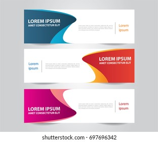 Set of Modern Colorful banner template. Blue, Red and Purple Banner design. Horizontal advertising banner.