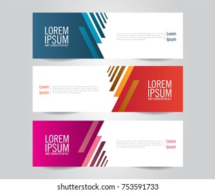 Set of Modern Colorful banner template. Blue, Red and Purple Banner design.