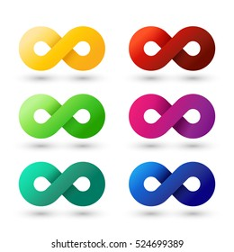 Set of modern colorful infinity elements. Best for identity and logotypes. Editable.