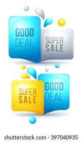 Set of modern colorful sale bubbles. Sale bubble template design. Sale symbol. Speech bubbles with sale icons. Sale bubble template design. Sale badges. Sale labels
