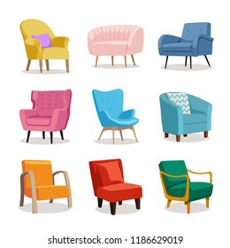 Set of modern colorful soft armchair with upholstery. Armchairs for room design games. Cushioned furniture, room decoration, interior design isolated on white. Vector illustration flat style.