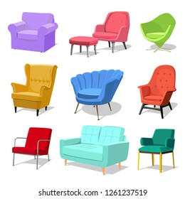 Set of modern colorful soft armchair and sofa with upholstery. Armchairs for room design games. Cushioned furniture, room decoration, interior design isolated on white. Vector illustration flat style.