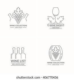 Set. The modern concept of grapes and wine logo on a light background. The token for the collection of wines, vineyards and restaurant. Vector illustration.