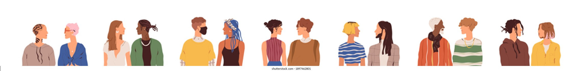 Set of modern couples chatting or talking. Young people meeting and communicating. Diverse faceless characters looking at each other. Colored flat vector illustration isolated on white background