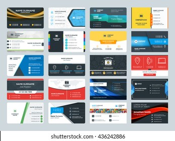 Set of modern creative business card templates. Flat design vector illustration. Stationery design
