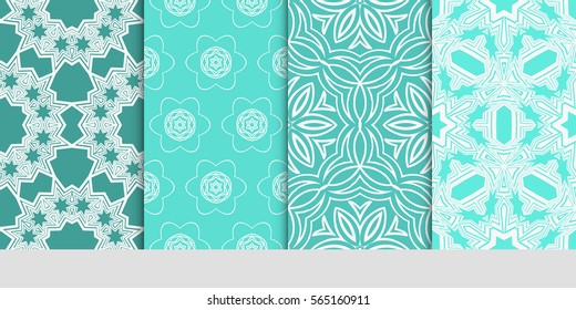 set of Modern decorative floral lace pattern. Luxury texture for wallpaper, invitation, decor, fabric. Vector illustration.
